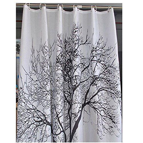 M&F 180200cm Black Tree Shower Curtain Polyester Bath Cur ...