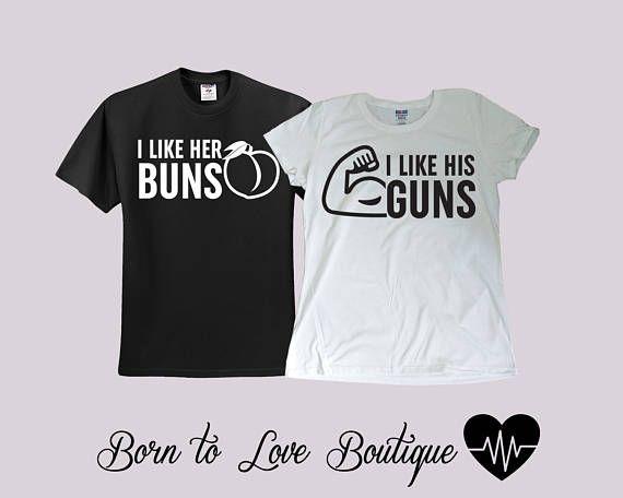 Buns Guns Couple Gym shirts Bride Groom shirts Couple