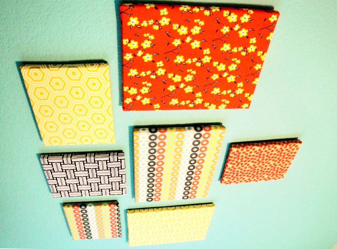 fabric covered canvas wall arrangement. | Home decorating ...