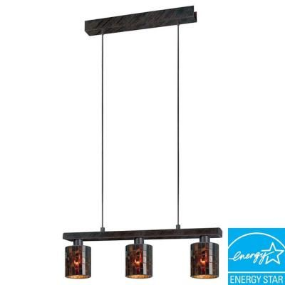 Eglo Troya 3-Light Antique Brown Hanging Island Light with Mosaic Glass Shade-20964A - The Home Depot