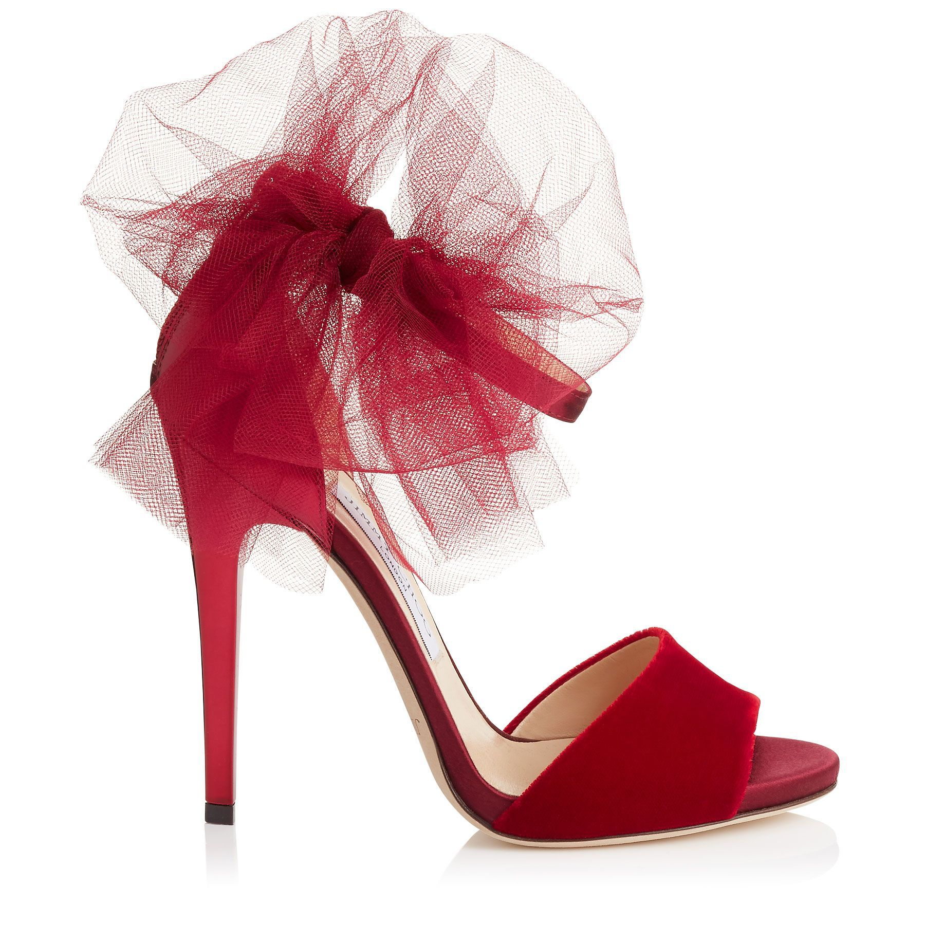 Red Velvet, Satin And Mirror Leather Peep Toe Sandals With Tulle Bow Detail  | Lilyth