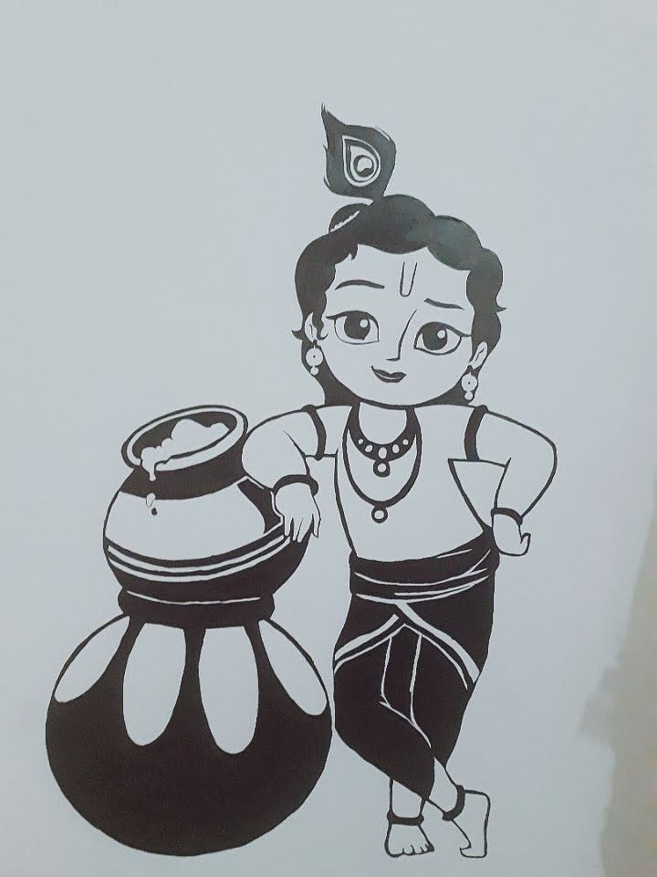Little Krishna Krishna Little In 2020 Art Drawings Sketches Simple Girly Drawings Art Drawings Sketches