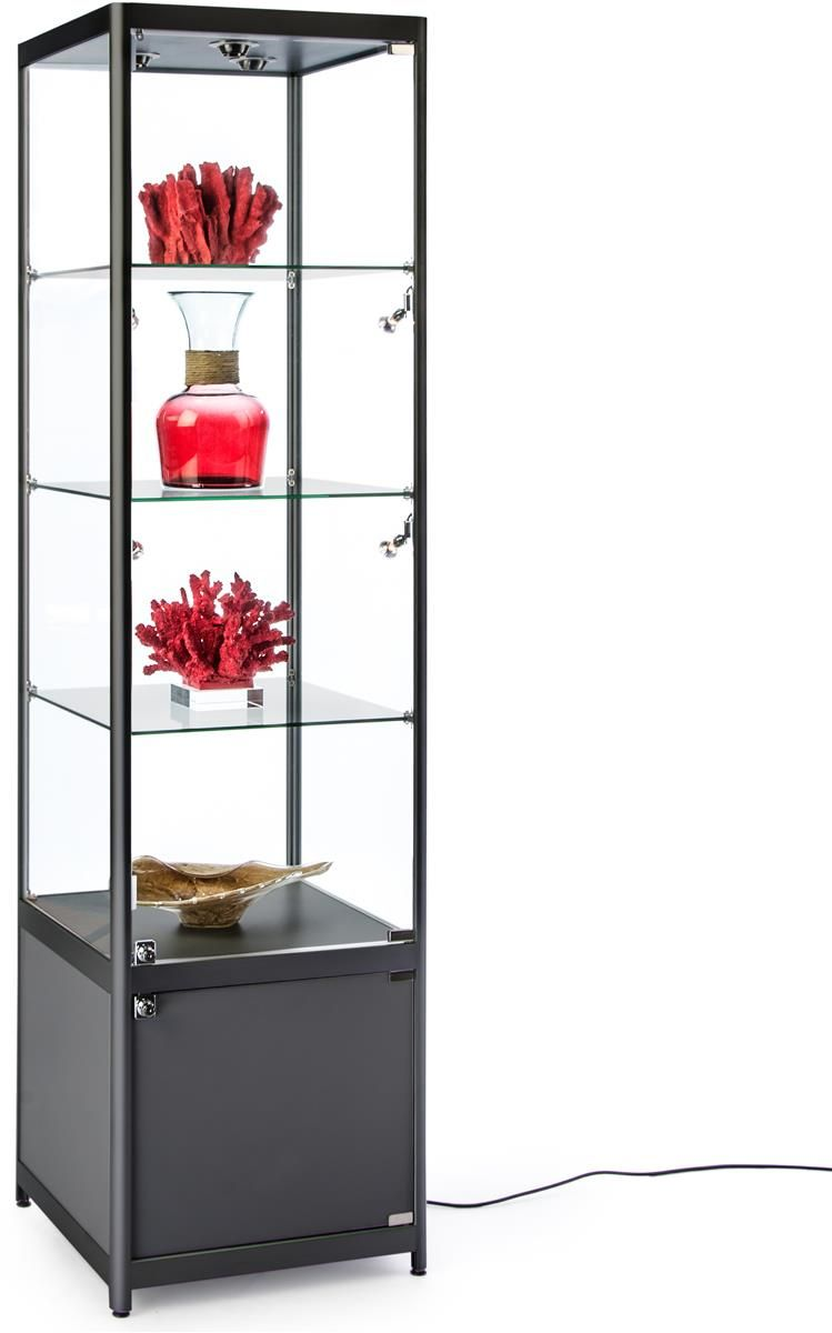 20 Glass Display Case W Led Lights Cabinet Fixed Shelves