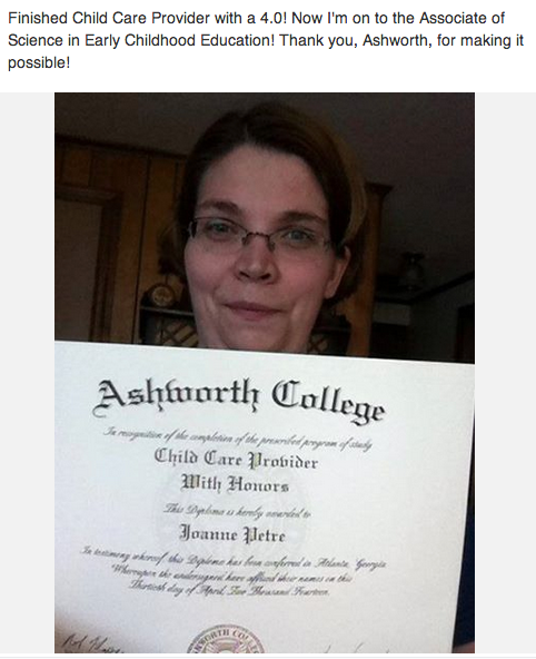 Joanne obtained child care training online with Honors