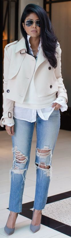 White Cropped Trench, White Sweater, White Button Up, Ripped Jeans, Gray Heels |Casual Chic Winter Street Style |Walk in Wonderland