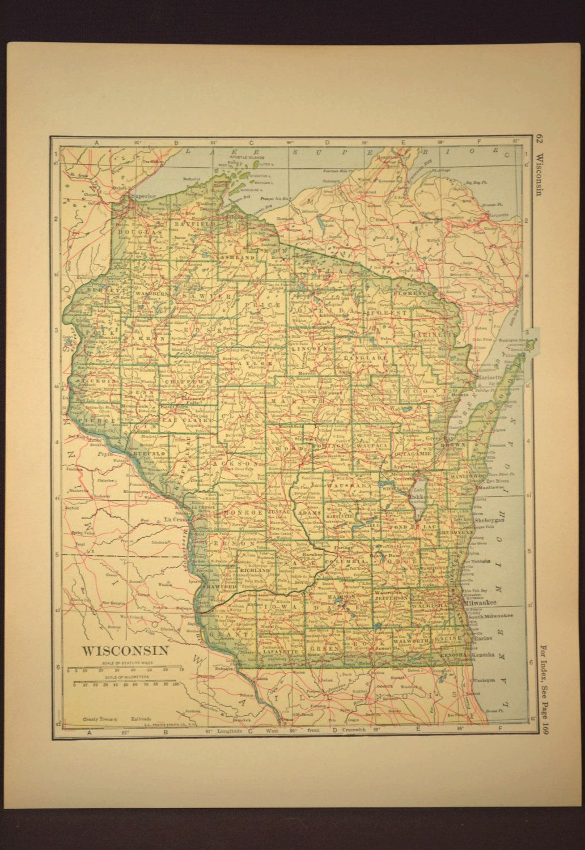 Wisconsin Map Wisconsin Railroad Vintage Original 1920s