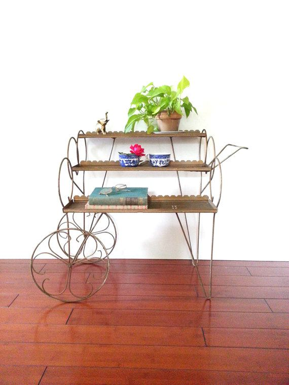 Vintage 60 S Metal Plant Stand Rolling Tea Cart By Luckyhomefinds