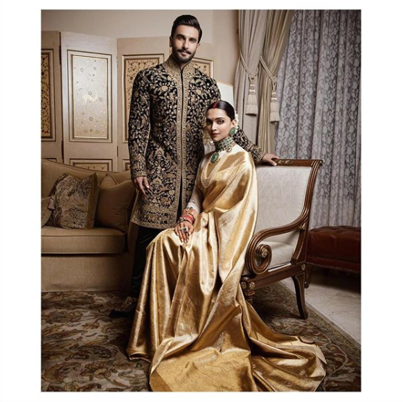 Deepika Padukone In Sabyasachi For Her Wedding Reception In Bengaluru Deepika Is Wearing A Saree Gifted To H Groom Outfit Indian Wedding Dress Indian Bridal