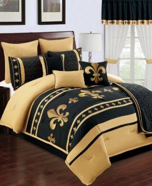 Baton rouge 22 pc queen comforter set black gold baton rouge king comforter sets and king - Fleur de lis bed sheets ...