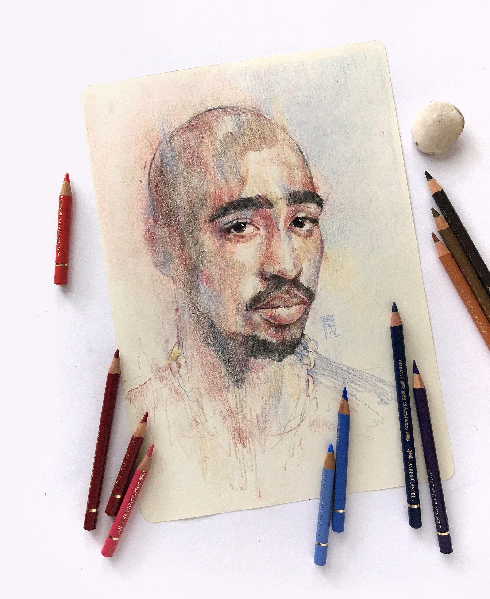 2pac Shakur Original Drawing Hand Made Color Pencil Artwork Etsy In 2020 Colored Pencil Artwork Art Color Pencil Art