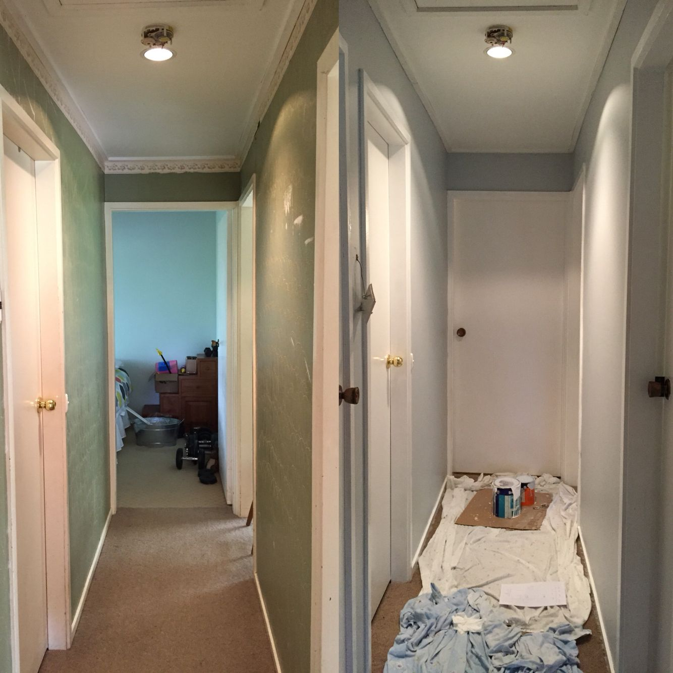 hallway before after dulux grey pail paint colours. Black Bedroom Furniture Sets. Home Design Ideas
