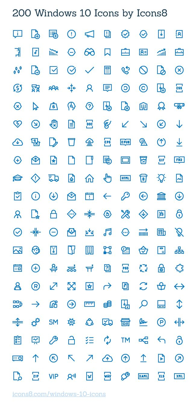 Free Windows 10 Icons 200 icons (AI, SVG, PNG) Web