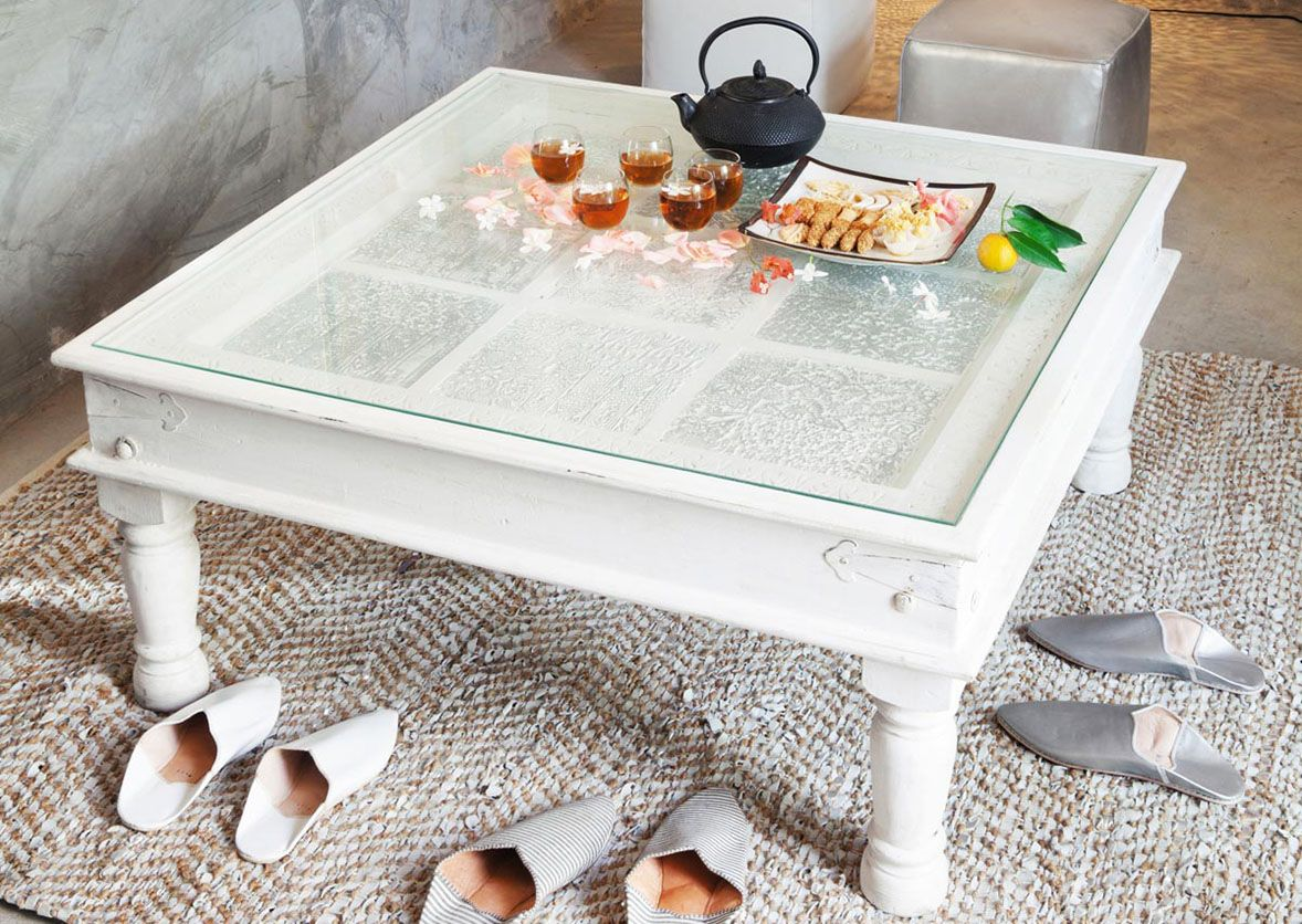 White Square Coffee Table With Glass On Top