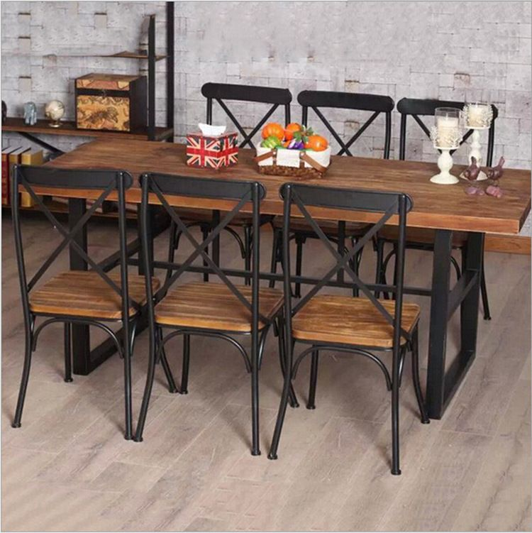 Cheap American Country Retro Wood Furniture Wrought Iron Table In The Restaurant The Family Dinner Table Iron Table Wrought Iron Table Wood Dining Room Table