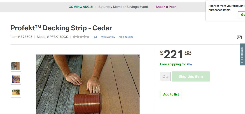 Profekt Decking Strip Cedar Deck Cedar Outdoor Flooring