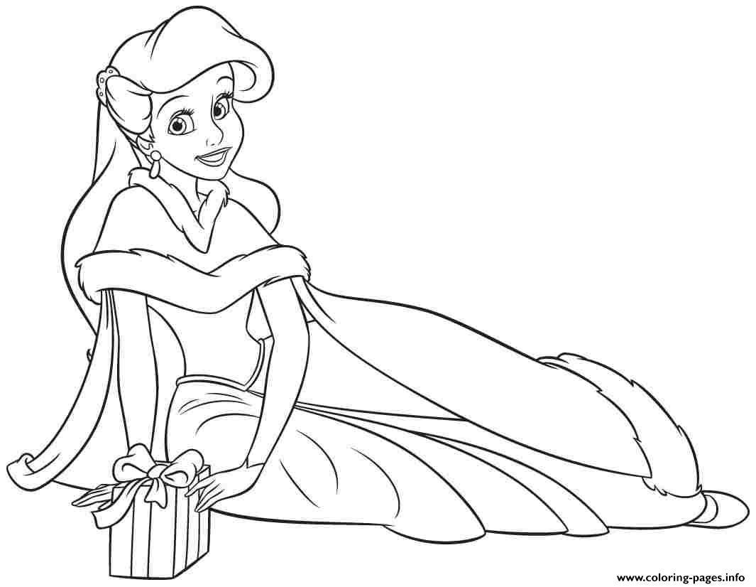 Print Princess Ariel Human Christmas Coloring Pages Princess