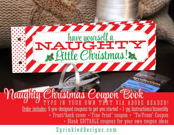 Naughty Christmas Coupon Book For Wife Husband By Sprinkleddesign