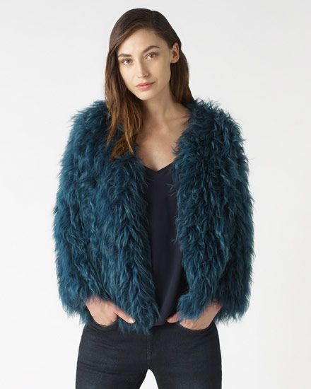 Signature jacket carefully crafted in soft sheepskin knit. by JIGSAW