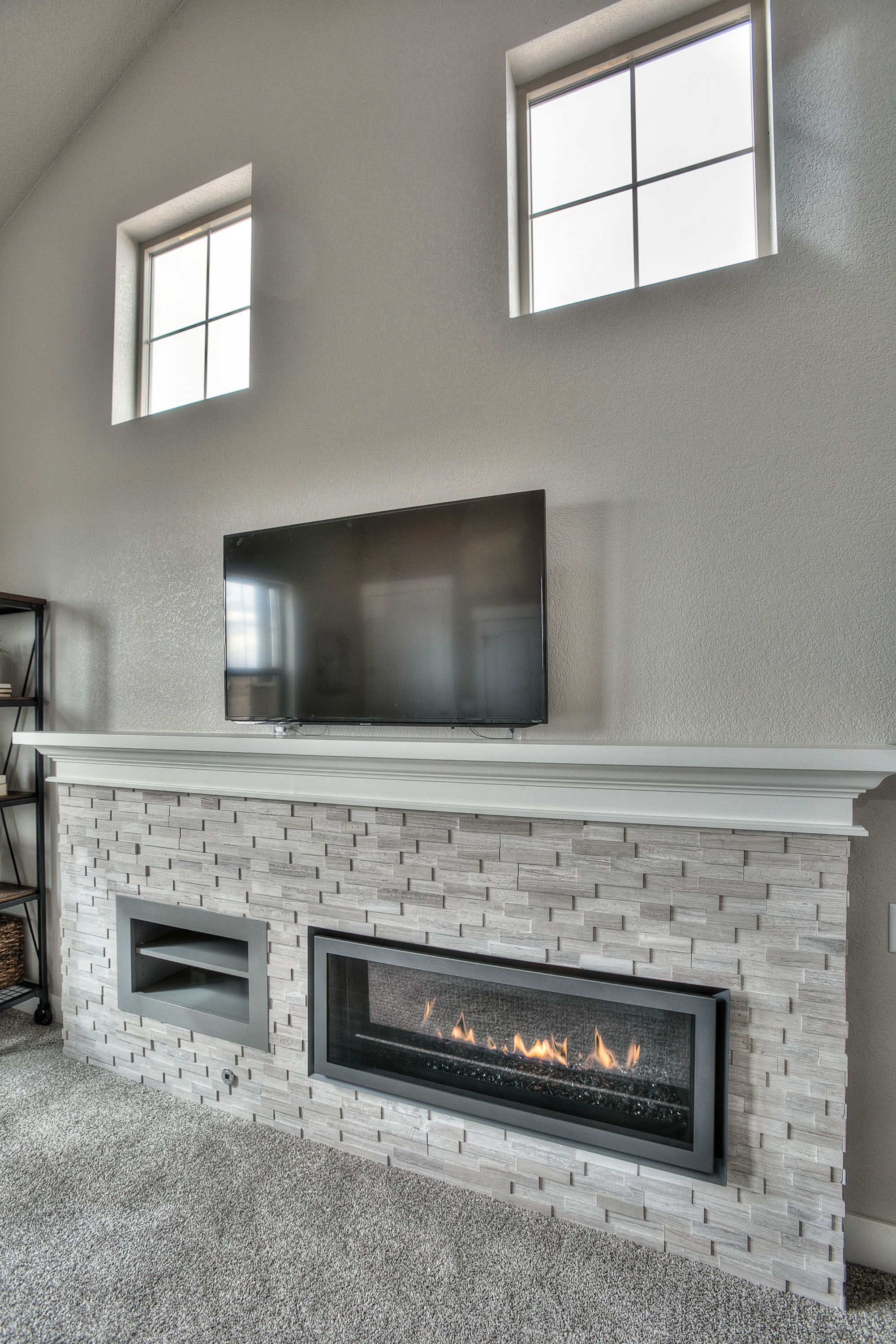 Linear Fireplace With Ledgerstone Linear Fireplace Fireplace