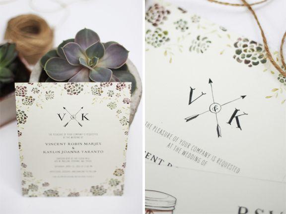 Succulent Inspired Wedding Invitation design by Kelli Murray