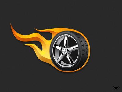 Car Shop App Logo by visual curve car chrome fire flame