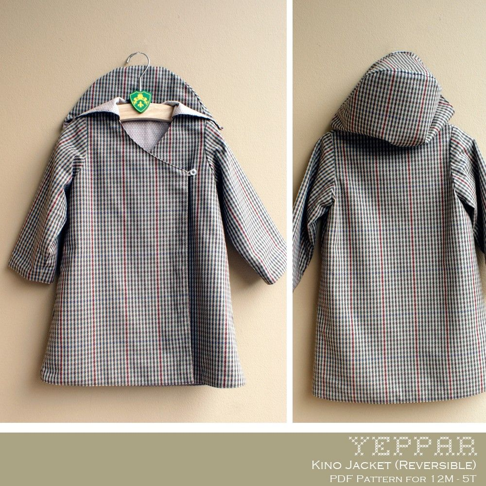No Serger - PDF Pattern - Kino Jacket (Reversible) for 12M - 5T and ...