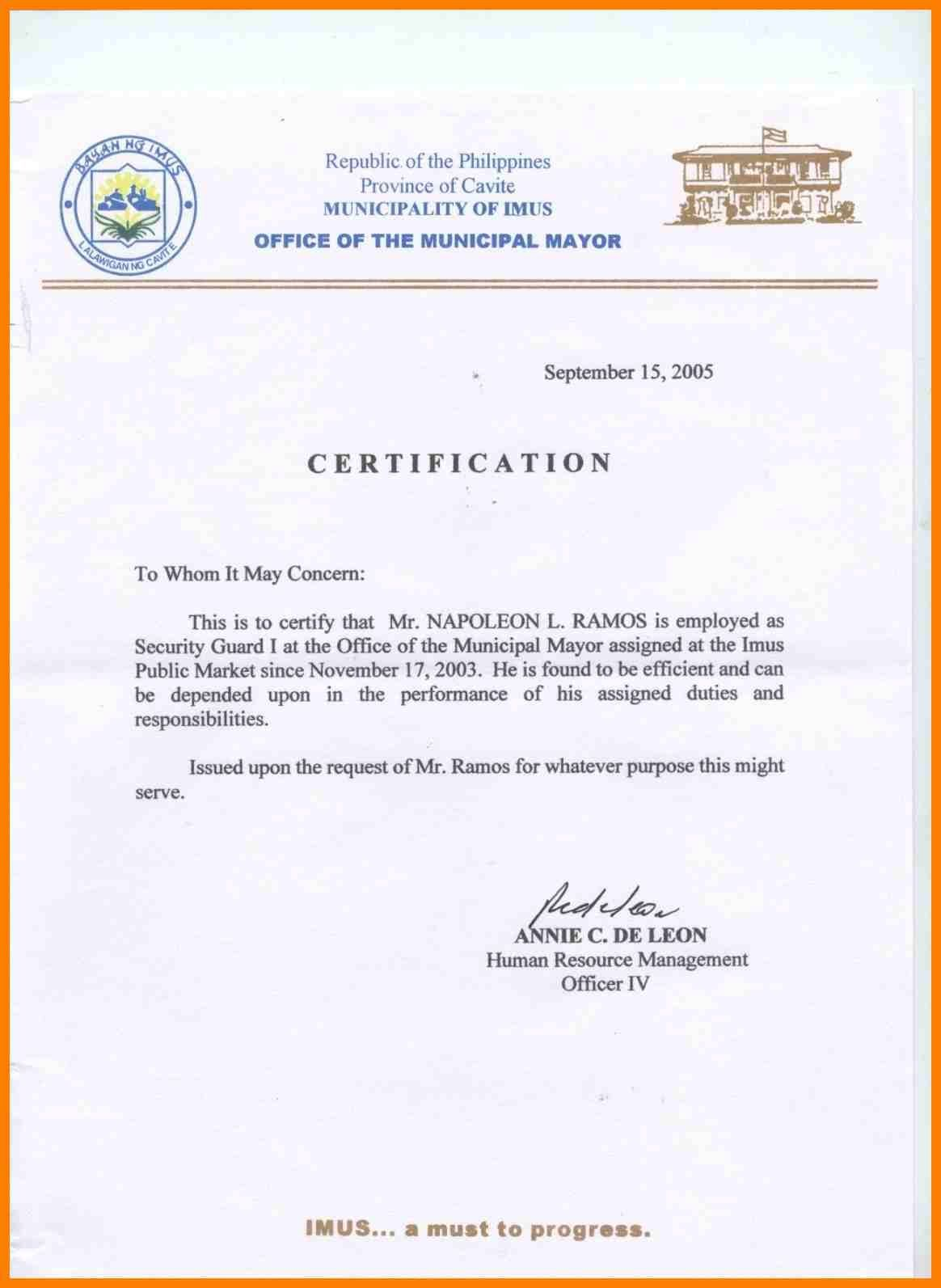 Sample Certification Letter Philippines Certificate Pertaining To Certificate Of Ordin Certificate Templates Certificate Design Template Business Plan Template