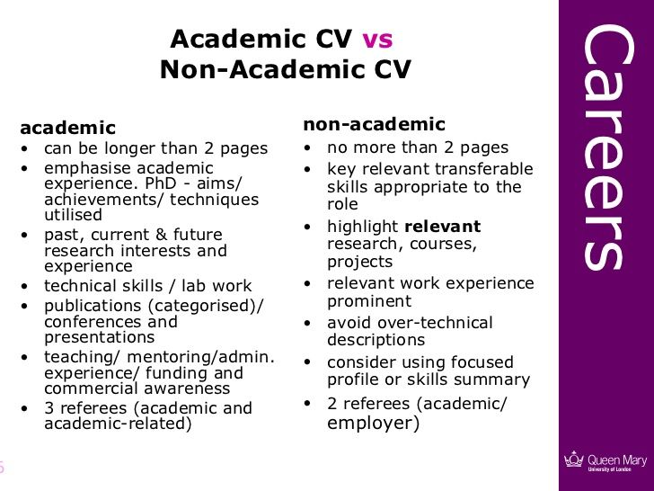 Careers Academic CV vs Non-Academic CV academic non-academic - academic cv