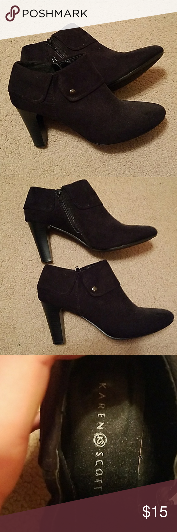 Karen Scott black booties Small black boots by Karen Scott. Only worn once or twice. Perfect for a night out with jeans or dressed up for business! Karen Scott Shoes Heels