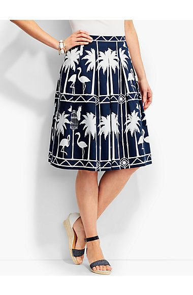 Flamingo-Print Pleated Skirt - Talbots