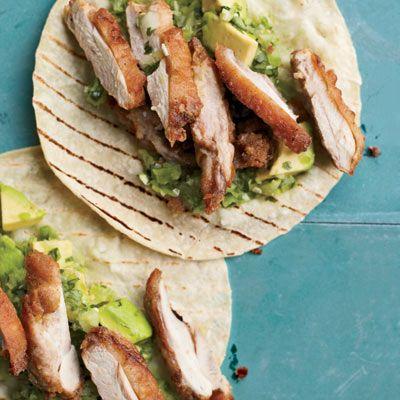 Great w/ avocado-tomatillo salsa - Fried Chicken Tacos // More Taco Recipes: http://www.foodandwine.com/slideshows/tacos #foodandwine