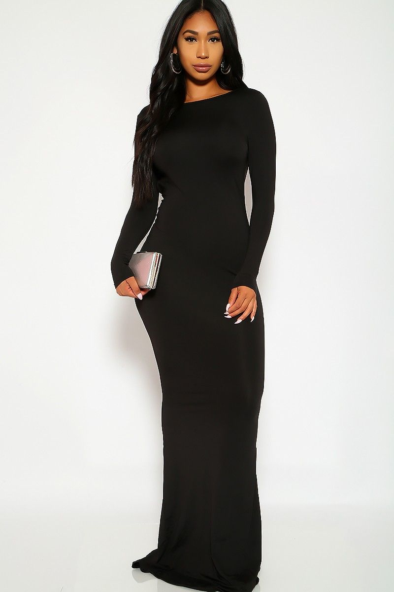 Cute black dress long sleeves knee length body con casual