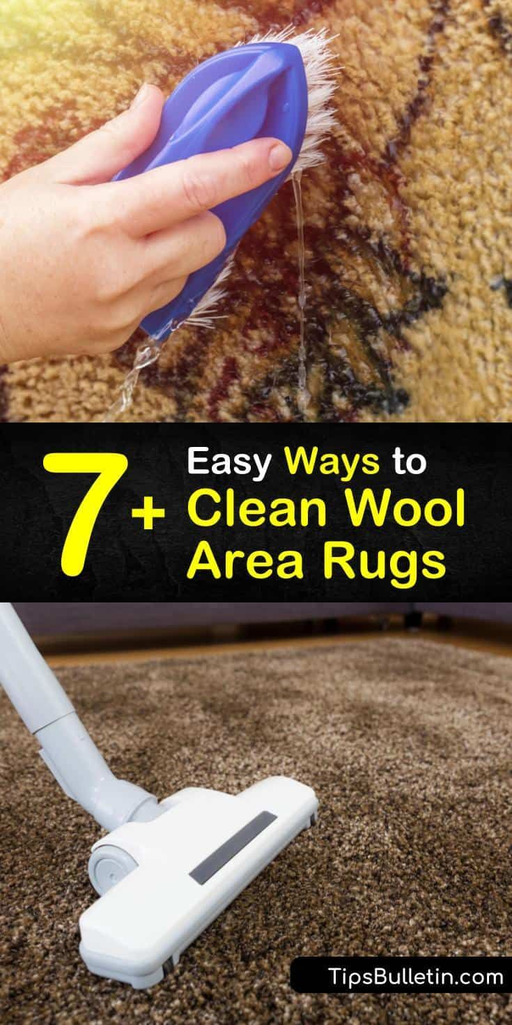 Learn how to clean wool carpets without hiring professional cleaning services. Clean wool to remove everyday dirt, mildew, and stains with cold water, dish soap, vinegar, ammonia, and baking soda to keep your area rug fresh. #woolrugcleaning #cleaning #wool #rugs #carpet