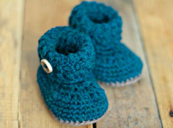 4f341c163a18d Crochet baby booties shoes petroleum, baby shoes, wool shoes, woolen ...