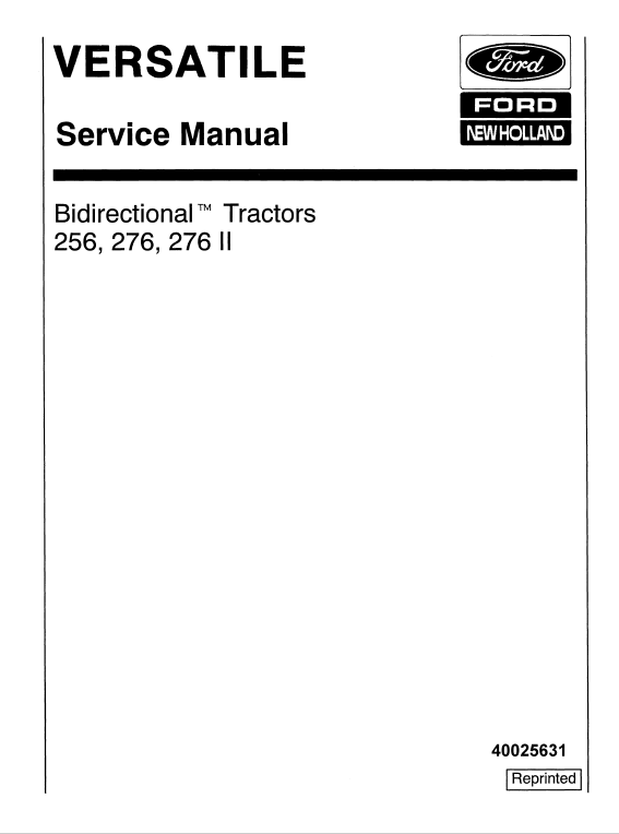 Ford Versatile 256 276 276ii Tractor Service Manual Tractors Manual Ford News