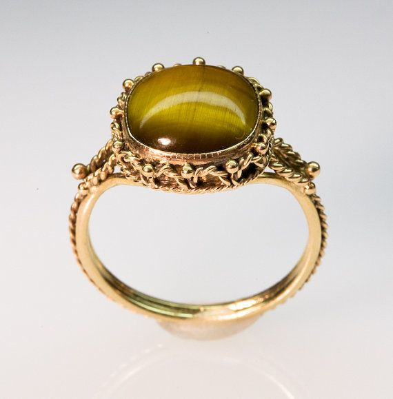 7065403ba27 Ojo de tigre dorado anillo filigrana - en oro de 14K
