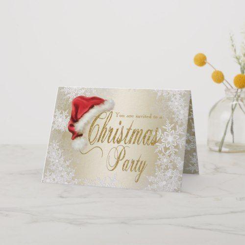Santa Hat Snowflake Christmas Party Invitation Zazzle Com