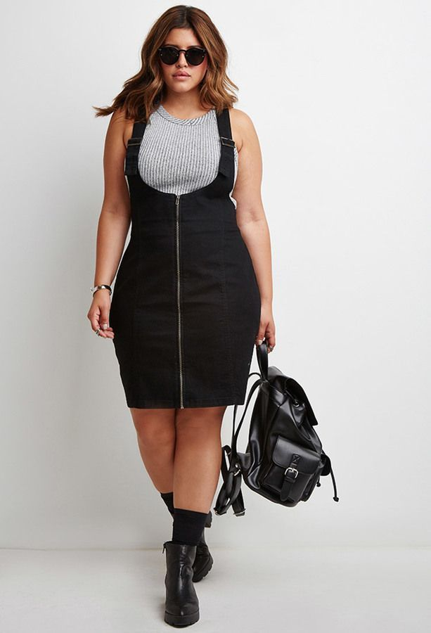 Plus Size Zipped Denim Overall Dress   Plus Size Fashion in ...
