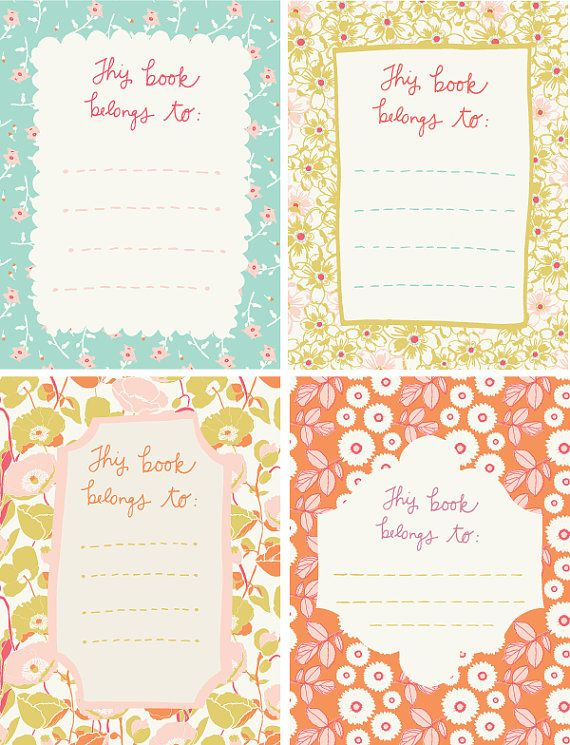 pretty printable patterned book plates
