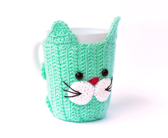 Crochet Mug Cozy with cup! Cat, Mug Warmer, Cup Cozy, Cup, Buttoned ...
