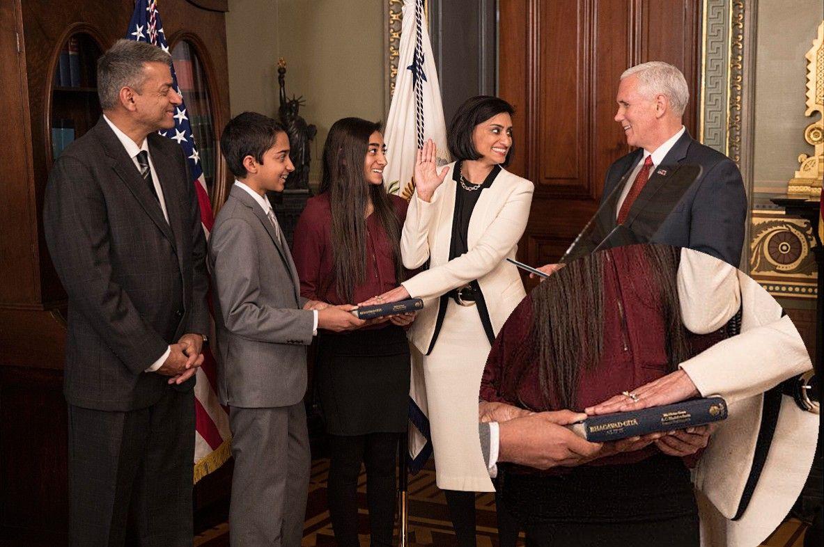 Seema Verna takes her oath of office on Srila Prabhupada's Bhagavad Gita.  Indian-American Seema Verma swears-in as Centers for Medicare and Medicaid Services head, places hand on Bhagavad-Gi…