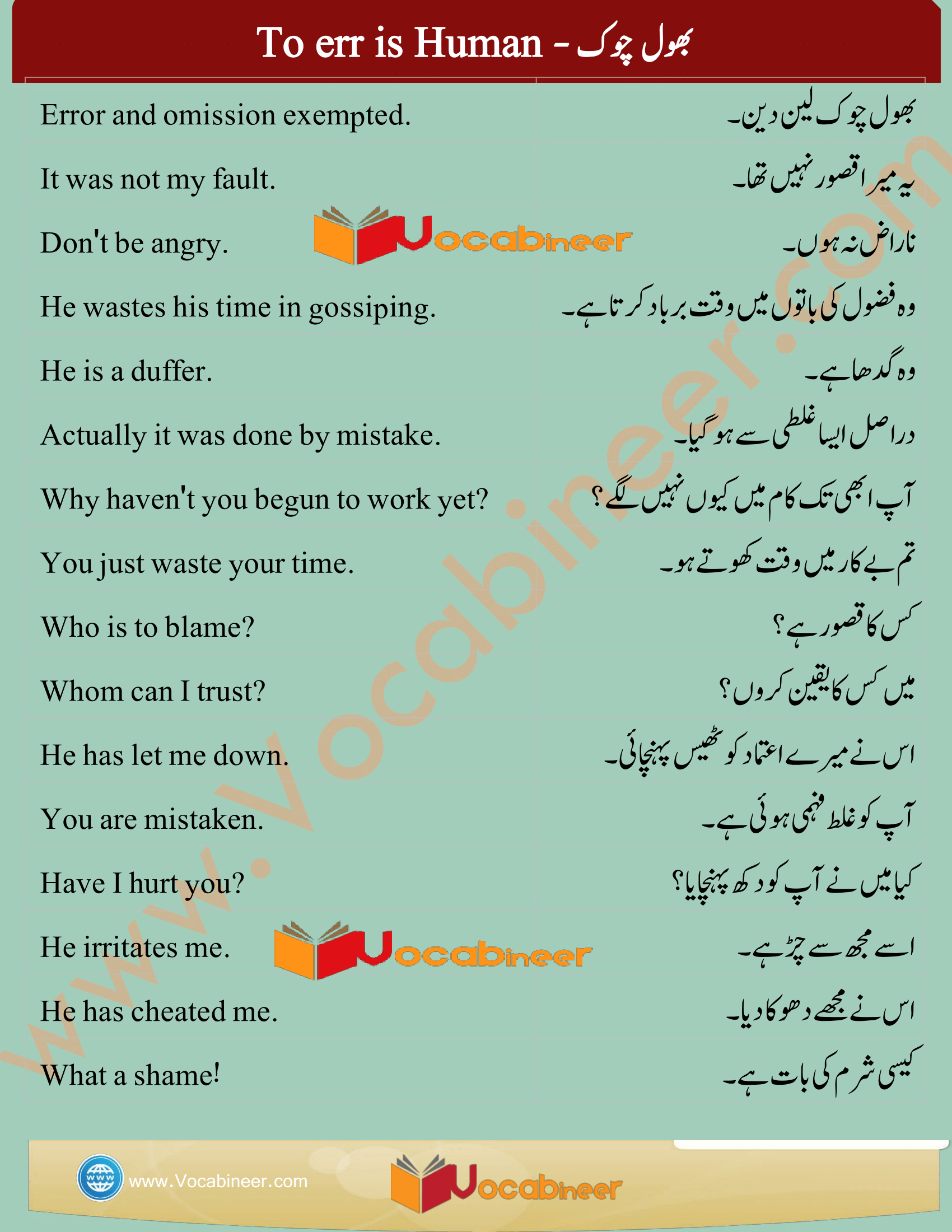 Common English Sentences In Urdu English To Urdu Spoken English Books Pdf Download Learn English Words Basic English Sentences English Sentences