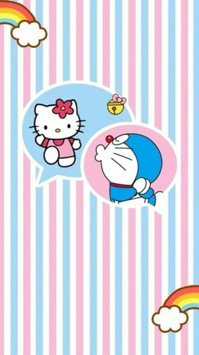 Doraemon And Hello Kitty Kartun Wallpaper Lucu Boneka Hewan Doraemon picture wall wallpaper price