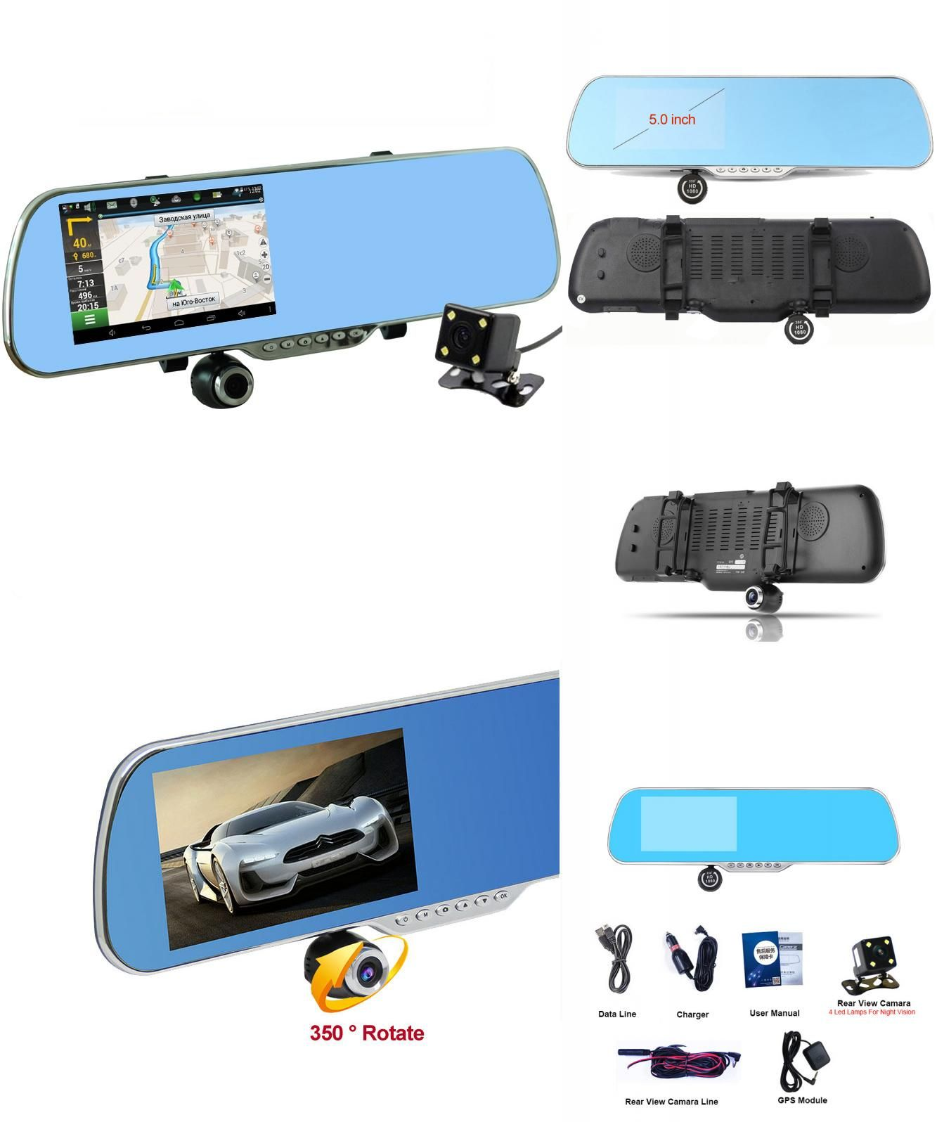 """[Visit to Buy] Upgrade 5"""" Android Car Camera GPS Navigation Wifi Rearview Mirror Car DVR Full HD 1080P Dual Lens Parking Auto Video Recorder #Advertisement"""