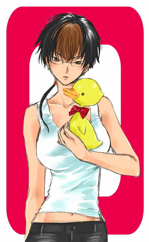Satsuki from X and a rubber duck