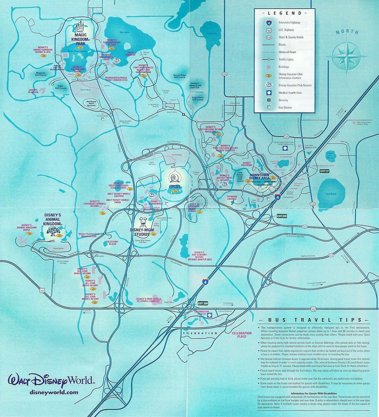 Walt Disney World Property 2001 Theme Park Maps