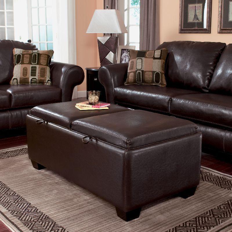 31999 Ashley Durahide Bicast Brown Storage Ottoman 7180311 The