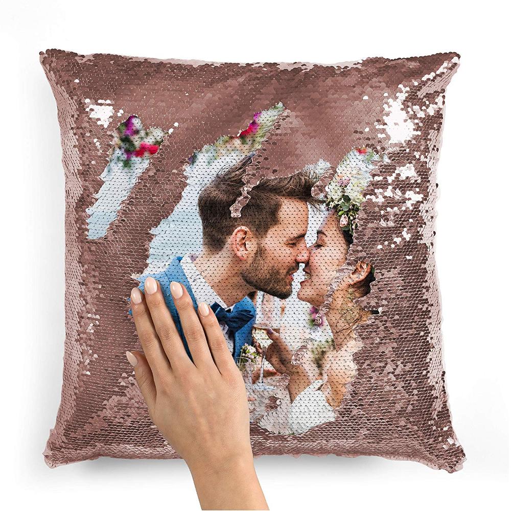 custom photo sequin pillow cases