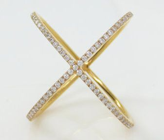 Micro Pave Diamond X Ring band in 18k Yellow Gold – Zina Tahiri, Inc