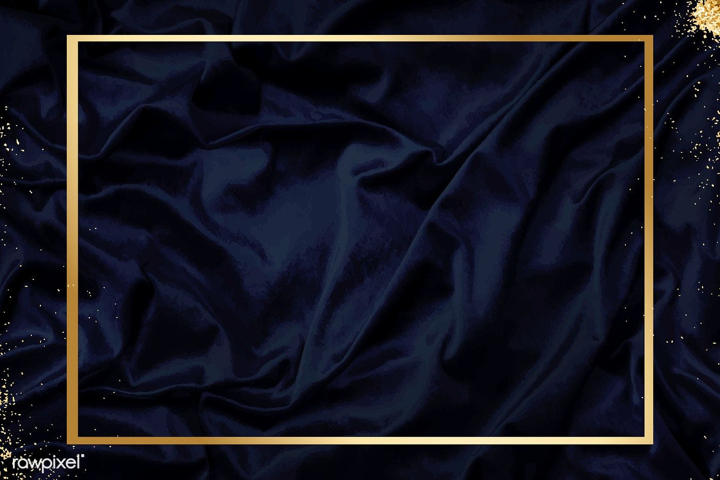 Gold Frame On A Silky Navy Blue Fabric Textured Background Vector